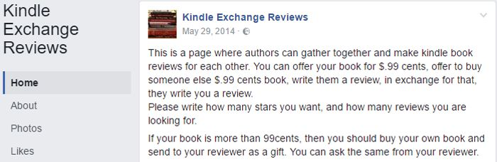 Kindle Exchange Reviews Facebook group