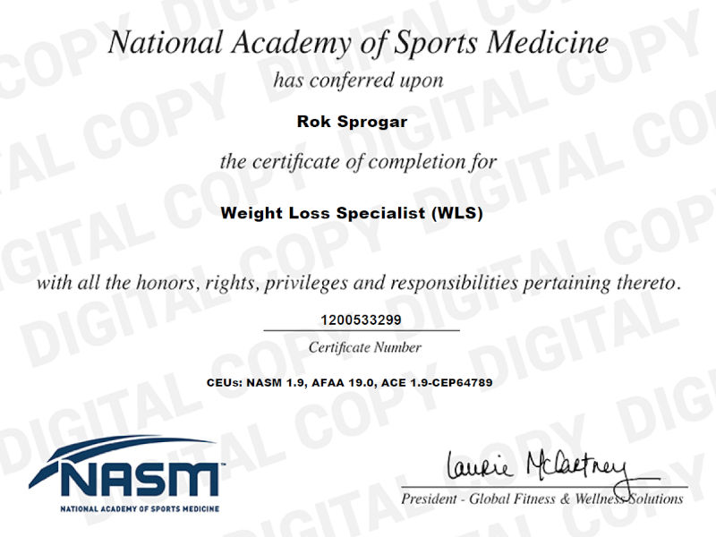 NASM Weight Loss Specialist Certificate (NASM-WLS) for Rok Sprogar