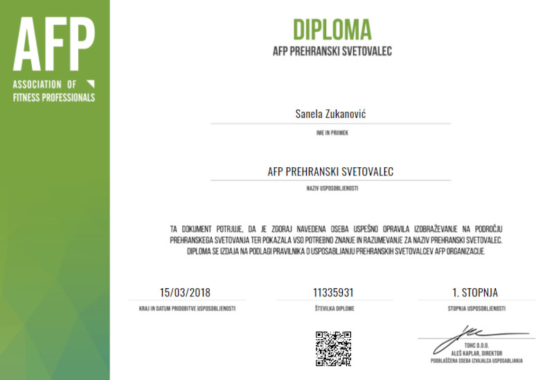 AFP Certified Nutrition Consultant (CNC) Certificate for Sanela Zukanovic