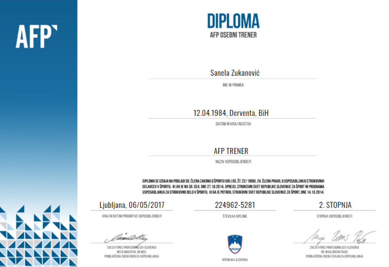 AFP Certified Personal Trainer (CPT) Certificate for Sanela Zukanovic